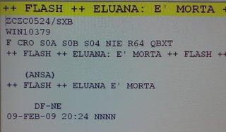 il lancio dell'agenzia ansa sulla morte di Eluana Englaro