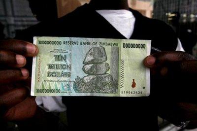 banconote zimbabwe trilione di dollari